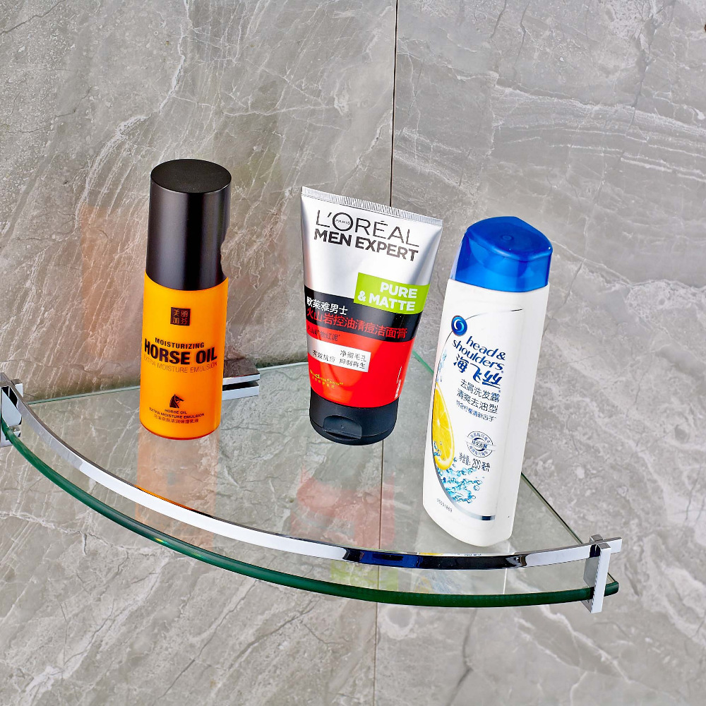 New US Free Shipping Wholesale And Retail Single Tier Glass & Stainless Steel Bathroom Commodity Shelf Cosmetics Shelf
