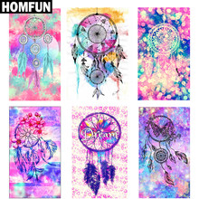 "Homfun Persegi/Bulat Bor 5D DIY Diamond Lukisan ""Indian Dream Catcher Bulu"" 3D Bordir Cross Stitch 5D Dekorasi(China)"