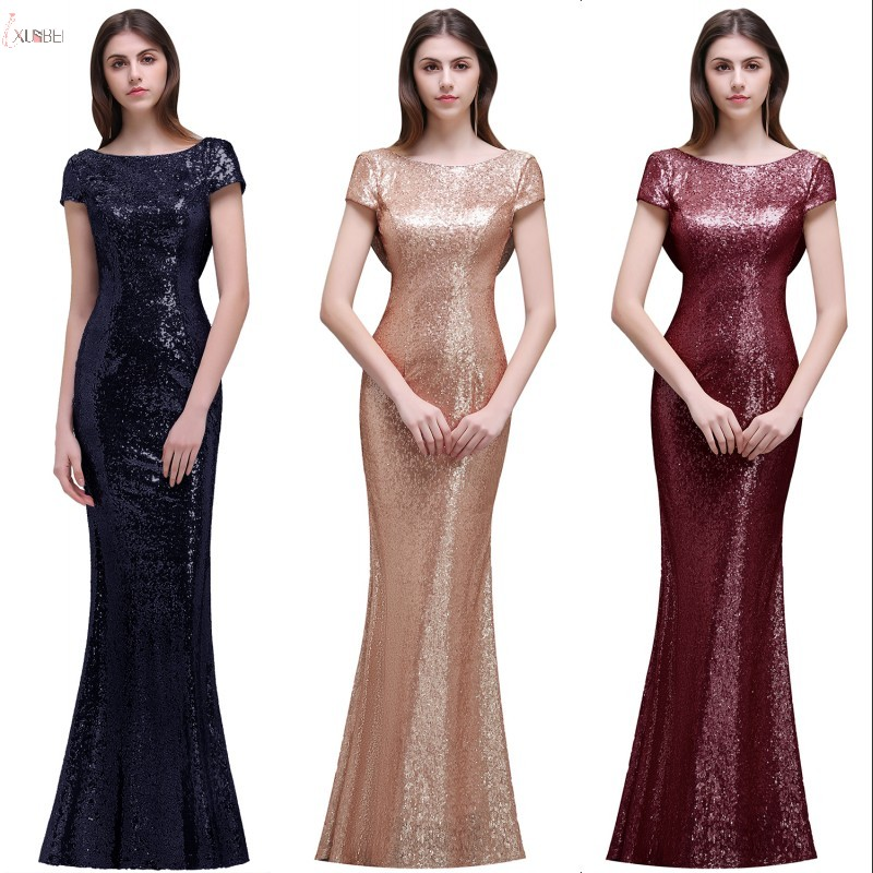 Long   Bridesmaid     Dresses   2019 Mermaid Sequined Wedding Guest Party Gown vestido madrinha
