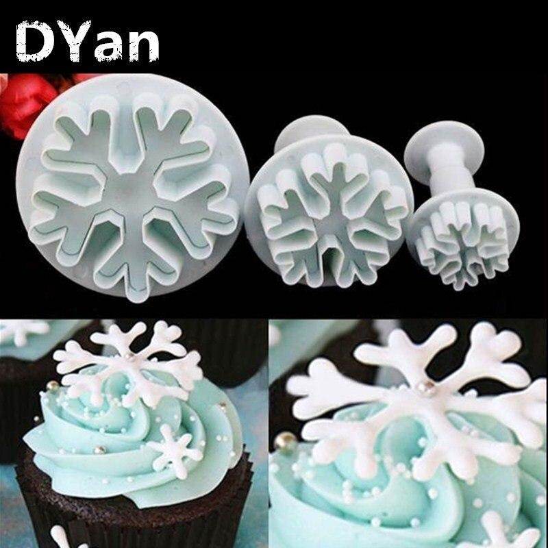 ⊱3 unids/set Snowflake plunger mold cake decoración Herramientas ...