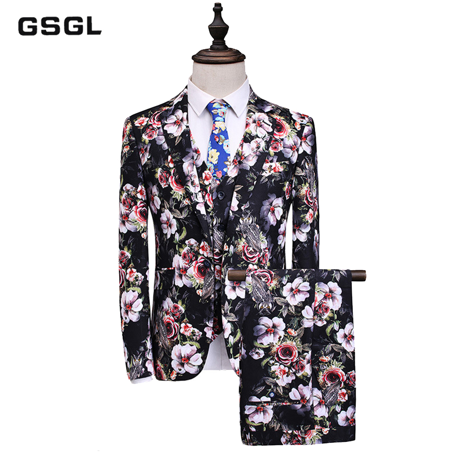 Men Suit New Classic Slim Fit 3 Piece Wedding Suits For Men Flower Pattern Floral Print Stage Prom Suit