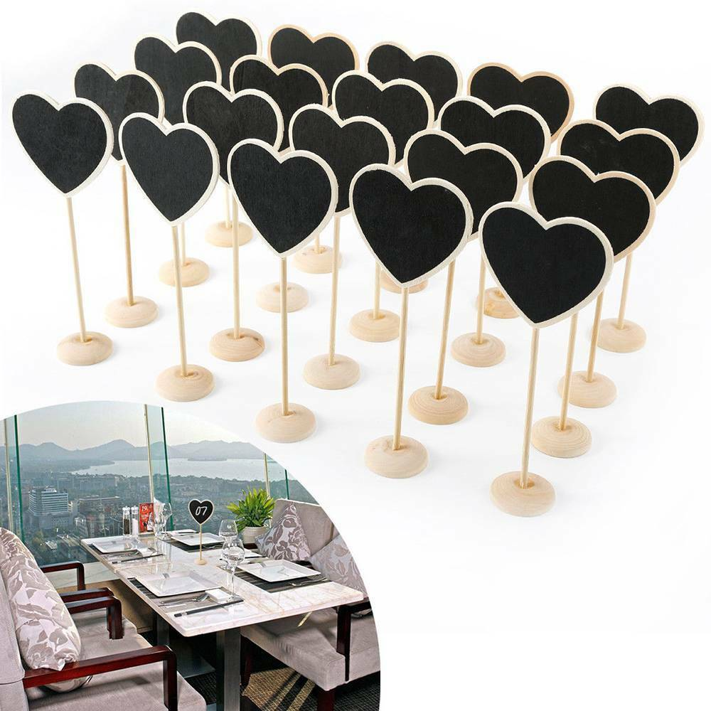 5Pcs/set Wooden Heart Shape Small Blackboard Wedding Celebration Table Home Decoration Crafts Ornaments Blackboard Supplies Gift