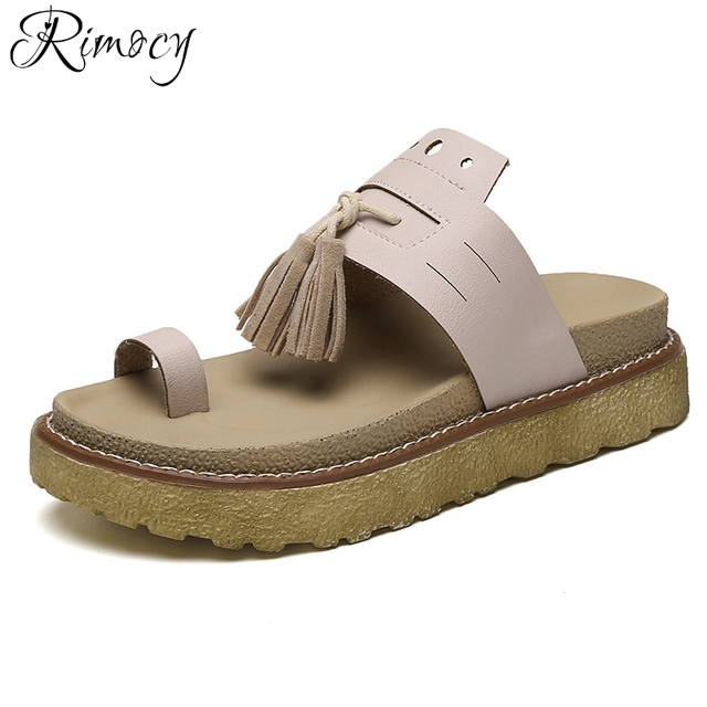 1b9756a59ba49 Rimocy solid leather toe ring women outdoor slides 2017 fashion tassel casual  summer shoes woman platform slippers sandals mujer