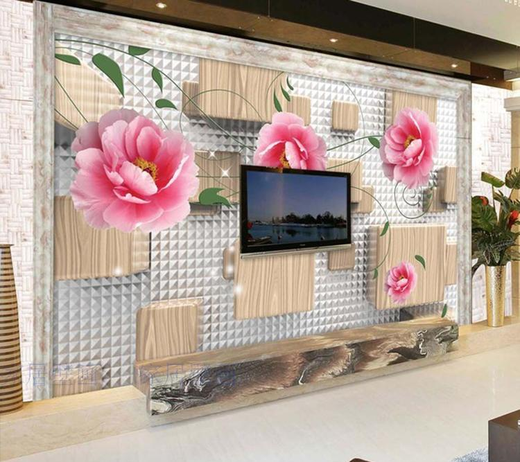 Large custom 3D wallpaper mural 3D wallpaper 3D stereoscopic rose pink flowers living room bedroom TV backdrop box stone vine leaves mountain large mural 3d wallpaper tv backdrop living room bedroom wall painting three dimensional 3d wallpaper