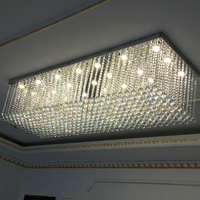 Crystal Chandelier Light Rectangle Crystal Hanging Lamp Used Dimmable Bulb Living Room Villa Corridor Decorative Lamps