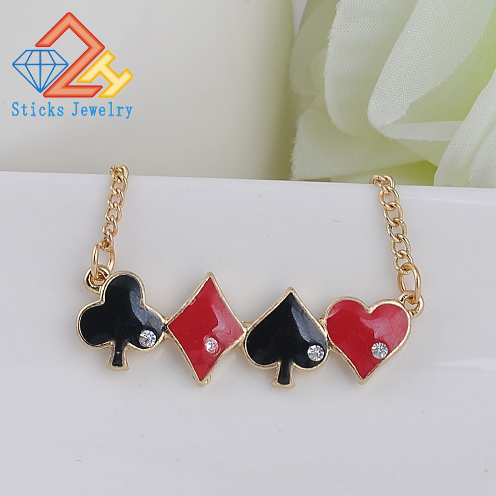 Chain Necklace Infinity Love Quinn Poker Heart Spade Club Charm Red Black Women or Men Necklace
