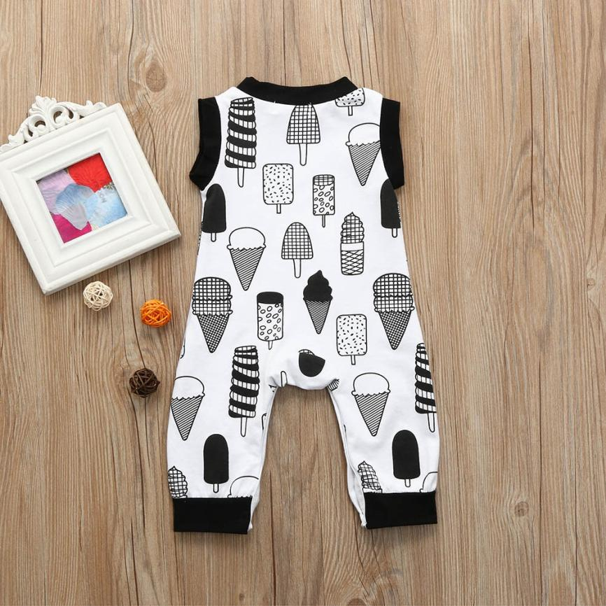 2018 Newborn Infant Baby Boy Girl Sleeveless Cartoon Ice Cream Romper Jumpsuit Outfits Clothes Comfortable And Breathable 5.28