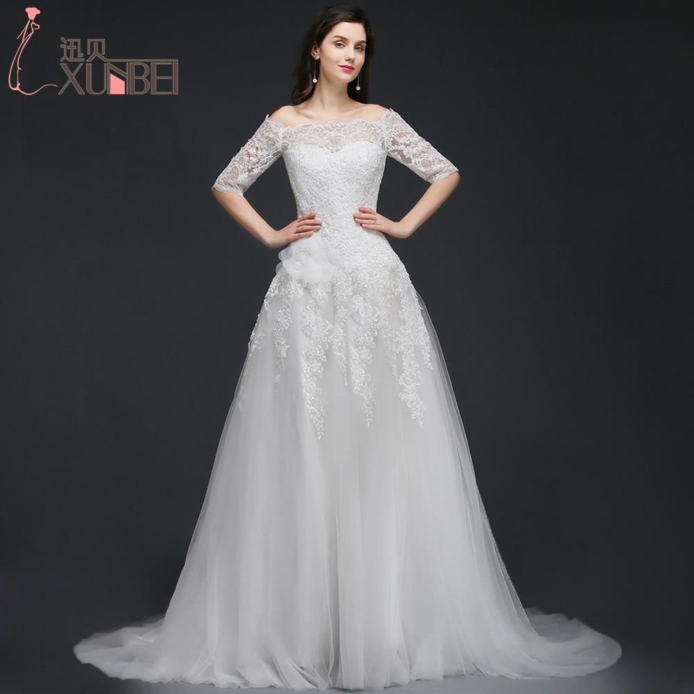 Off Shoulder A Line Wedding Dresses 2017 Half Sleeves