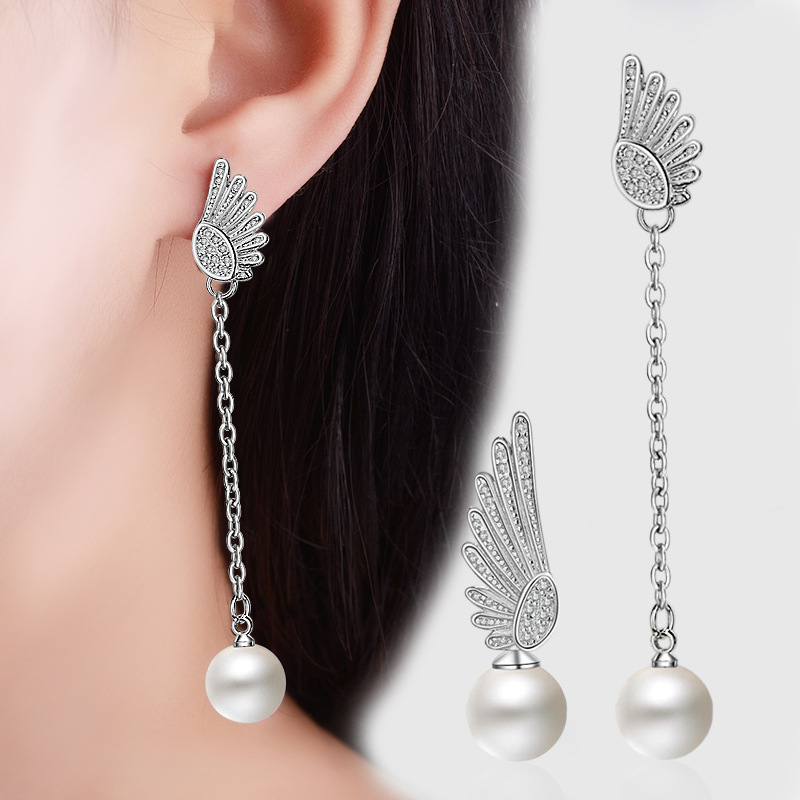 925 Sterling Silver Tassel Pearl Angel Wings Drop Earrings for Women Gril Christmas Gift Female Jewelry Bijoux EH765