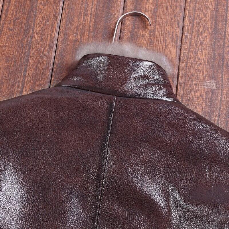 Vison Vers Chaud Col Pour En Cuir Le Brown Épais Bas Fourrure Moto Vache Veste Véritable Mode Hommes Manteau De Vho ymwNO0P8nv
