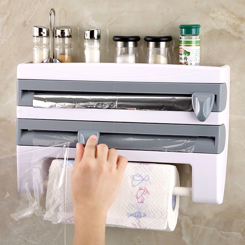 Multifunctional Kitchen Film Sauce Bottle Storage Rack Paper Dispenser Preservative Film Rack Home Kitchen Accessory