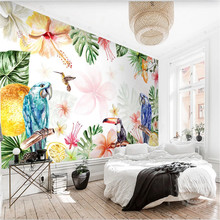 Custom Tropical Rainforest Flowers and Birds Parrots Colourful Watercolor Mural