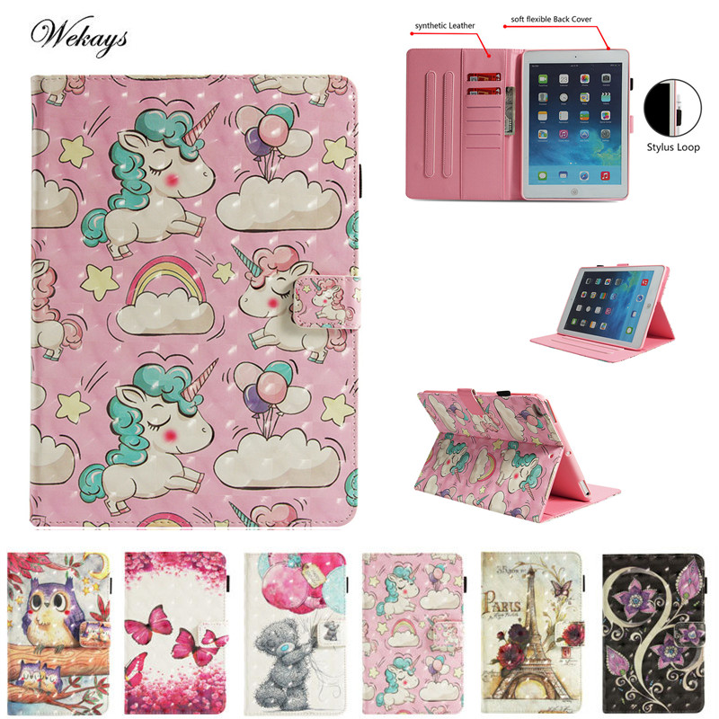 Wekays Fall Für IPad Mini 4 3D Cartoon Einhorn Blume Eule Turm Leder Smart Cover Fall für Apple IPad Mini4 tablet Coque Funda