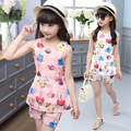Drop shipping Big Kids Girls Summer sets 2016 new tide Eugen yarn sleeveless shirt + shorts two piece suit A503