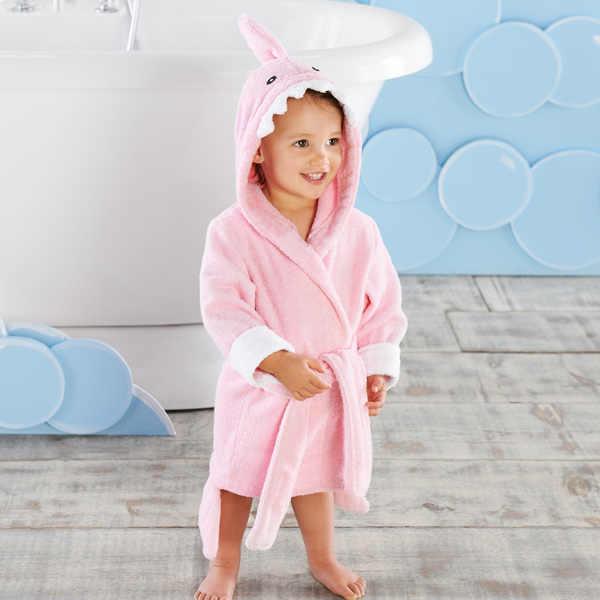 Taglia L per bambini di 4-6 anni accappatoio per bambini squalo blu e rosa/asciugamano da bagno per bambini/poncho da spiaggia per bambini/abito da bagno