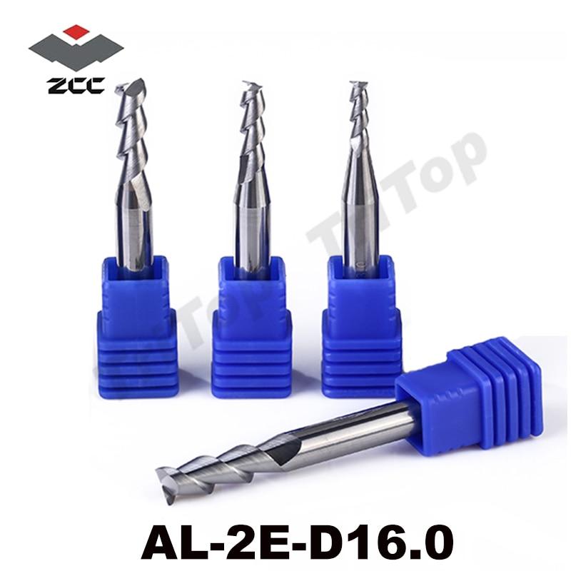 AL-2E-D16.0 ZCC.CT solid Carbide 2 flute flattened end mill 16mm D16.0 mm cnc  milling tools for aluminum machining 2pcs lot zcc cutting tools al 2b r2 0 solid carbide 2 0mm r2 0 2 flute ball nose cnc end mill milling cutter for aluminum