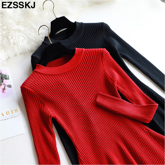 chic Autumn Winter black Sweater Dress Women o neck Long Sleeve A Line thick Knit mini
