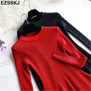 Image 2 - שיק סתיו חורף שחור סוודר שמלת נשים o צוואר ארוך שרוול קו עבה לסרוג מיני שמלה נשי ילדה קצר bodycon שמלה