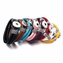 Really 128 Original Genuine Leather 18mm Snap Button Bracelet Interchangeable Charm Jewelry For Women gift inside length 20cm