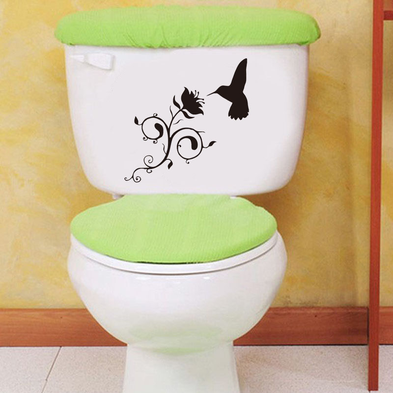Hummingbird And Flower Vinyl Decal Bathroom Decorative Glass Toilet Stickers Black 4ws0090 China Mainland
