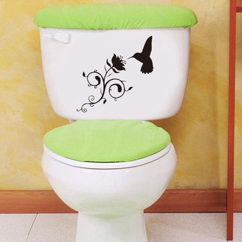Hummingbird And Flower Vinyl Decal Bathroom Decorative Glass Toilet Stickers Black 4WS0090