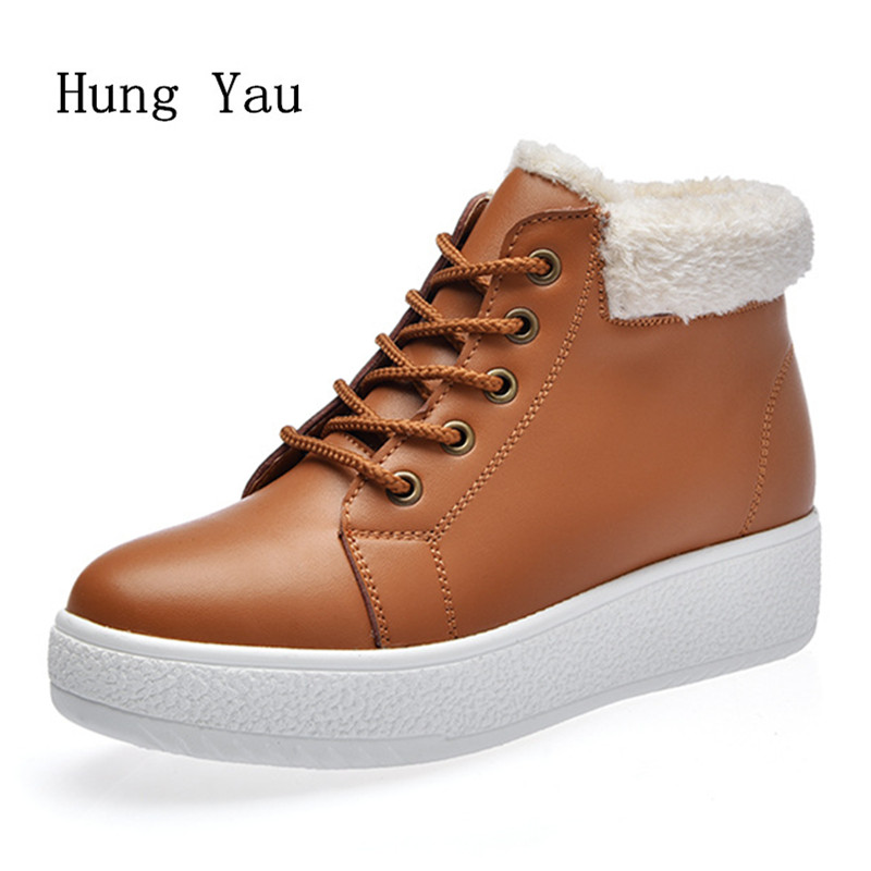 Women Snow Boots Ankle Genuine Leather 2017 Winter Warm Female Casual Shoes Platform Woman Boots Flat Fashion Comfortable front lace up casual ankle boots autumn vintage brown new booties flat genuine leather suede shoes round toe fall female fashion