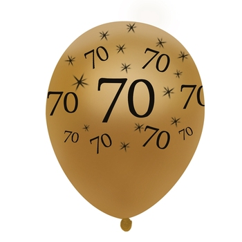70th Birthday Balloon Gold 10 Pcs