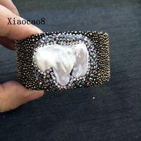 Véritable Peau de Raie Ouvert Bracelets Unisexe Nature Perle Bracelets et Bracelets Femmes et Hommes 30 CM Large Bracelet Vintage Bijoux