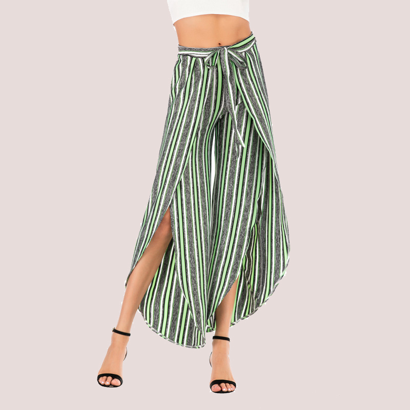 High Waist Sashes Striped   Pants   Women 2019 Summer New Fashion Split   Wide     Leg     Pants   Casual Sexy Office Ladies Trousers