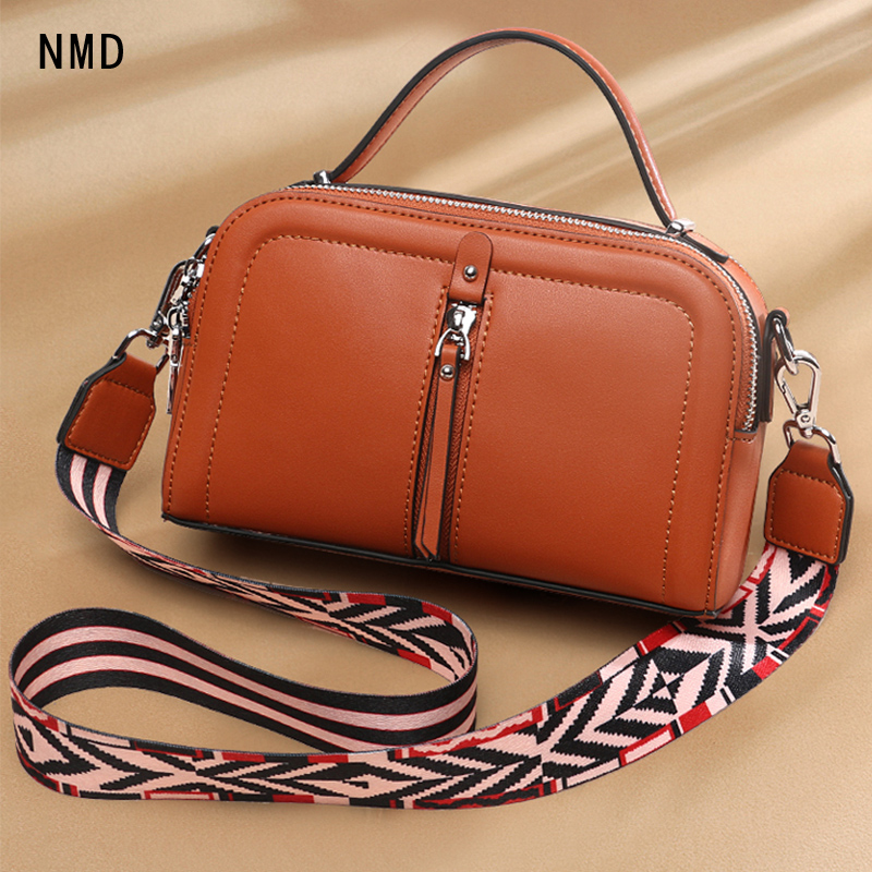 NMD genuine leather square shoulder bag with 3 zipper windows and 2 shoulder straps from the famous designer woman bag 2019 in Shoulder Bags from Luggage Bags