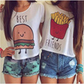 2017 Summer Women Casual Short Sleeve T Shirt Ladies T-shirt Hamburg Chips Printed Best Friends Sexy Tops H9