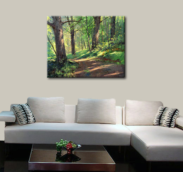 Aliexpress.com : Buy Green forest oil painting beautiful natural ...