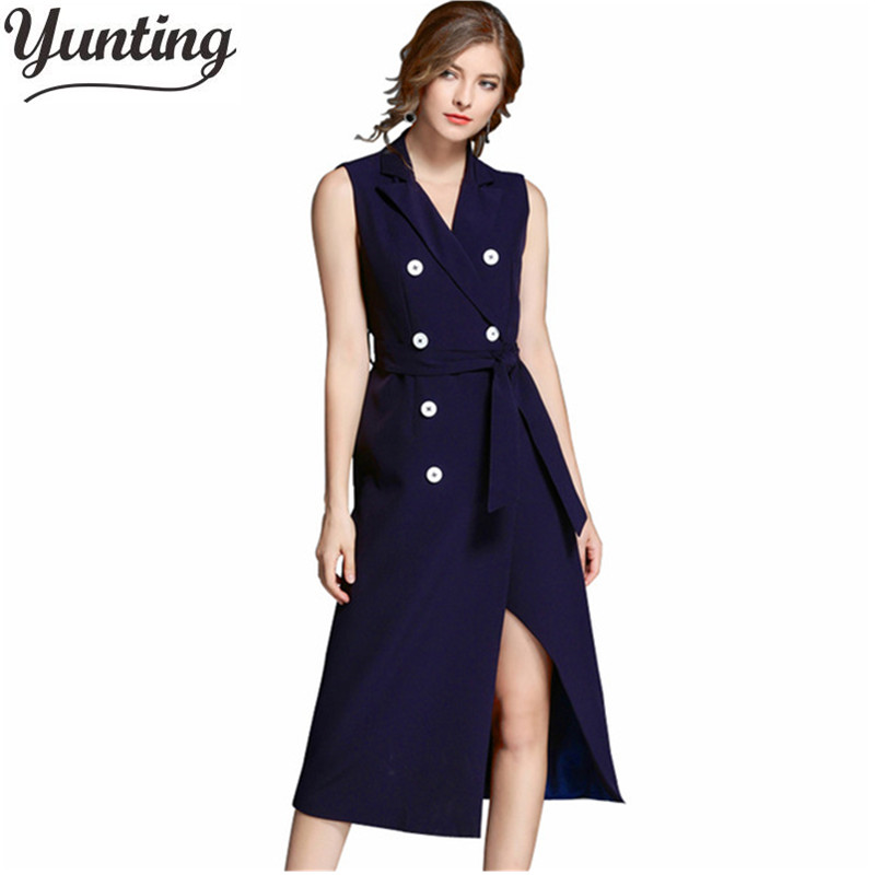 Women Spring Office <font><b>Dress</b></font> <font><b>2018</b></font> New Fashion Notched Collar <font><b>Sexy</b></font> Slim Double Breasted Sleeves <font><b>dresses</b></font> Casual <font><b>Work</b></font> <font><b>dress</b></font> image