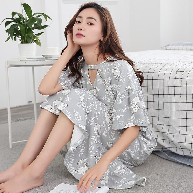Brand New 100% Cotton Women's Nightgown Lounge Nightdress Femme Sleepwear Casual Nightwear Loose Nightgown Fashion Sleepshirts
