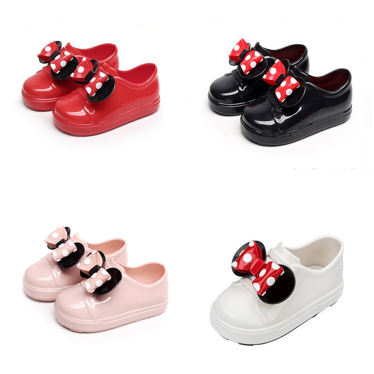 Mini Melissa 2018 New Mickey Bowknot Casual Girl Single Shoes Candy Fruit Jelly Shoes Waterproof Kids Melissa Sandals Shoes