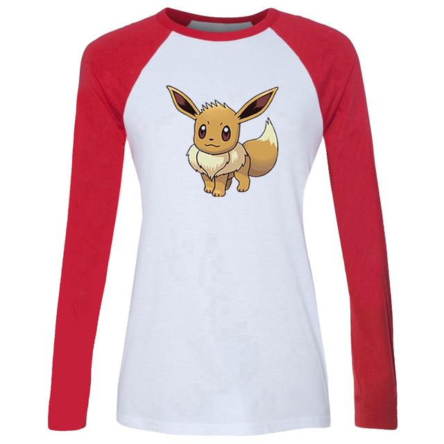 IDzn Casusl de las Nuevas mujeres Calientes Camiseta de Dibujos Animados Pokemon Eevee Family patrón de Colores Camiseta Manga Larga de algodón de la Muchacha Camiseta de la Señora Tee Tops