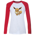 iDzn New Hot Women's Casusl T-shirt Cartoon Pokemon Eevee Family Pattern Raglan Long Sleeve Girl's cotton T shirt Lady Tee Tops