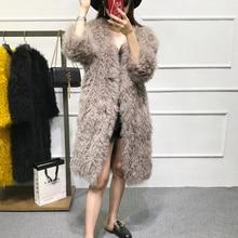 winter women's real fur coat V-neck 2017 fashion slim wool natural mongolia sheep fur coats girls lamb jacket female outerwear