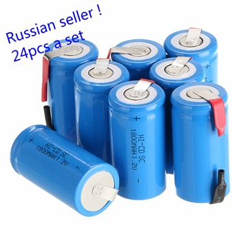 Russian seller !24 pcs sub c SC battery Ni-Cd battery rechargeable battery 1800mh with tab-blue color