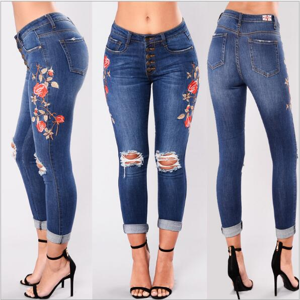 c1693f9f5c Jeans Mom Women Denim Pants Holes Destroyed Knee Pencil Pants Embroidery  Flower Stretch Faded Ripped Slim Fit Skinny New