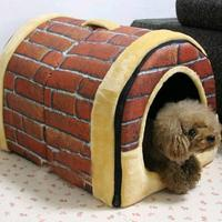 Pet Supply Small Dog Beds Mats Puppy House For Cat Cotton Retro Kennel Washable Dual Purpose