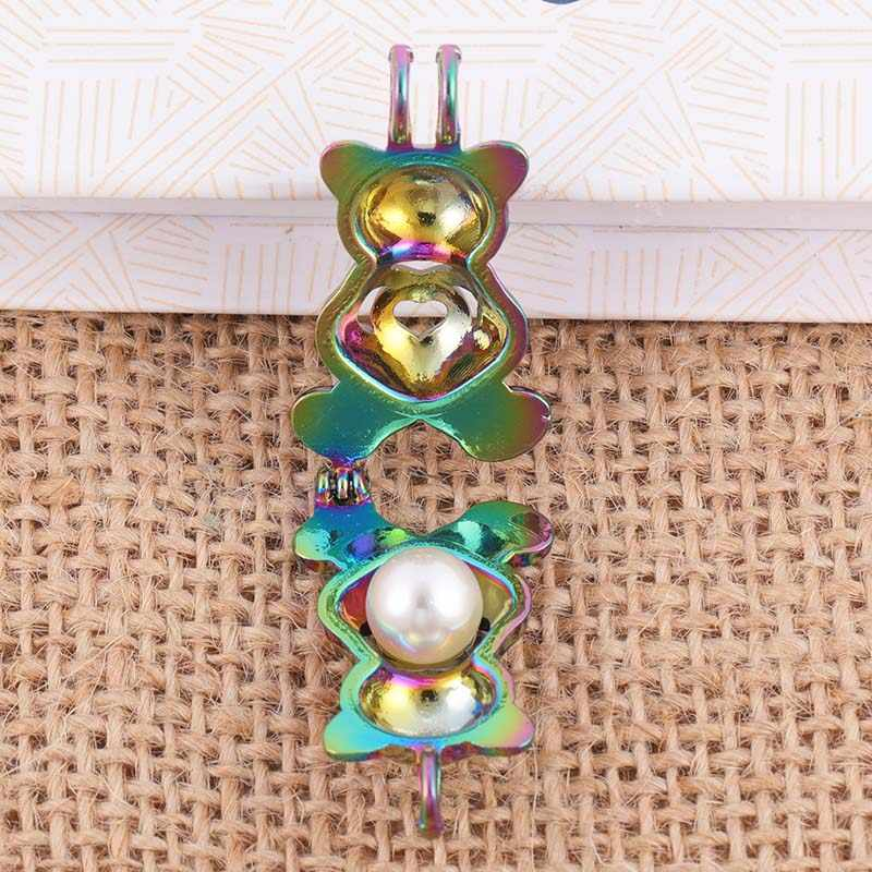Aromaterapia collar de jaula de perlas color oso tipo Acero inoxidable aceite esencial COLGANTE DIFUSOR 3 unids/lote regalo de moda SC513