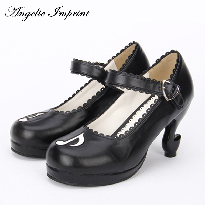 Personality Musical Note Fantasy High Heels Pumps Lolita Shoes Princess Girl Mary Jane Shoes купить недорого в Москве