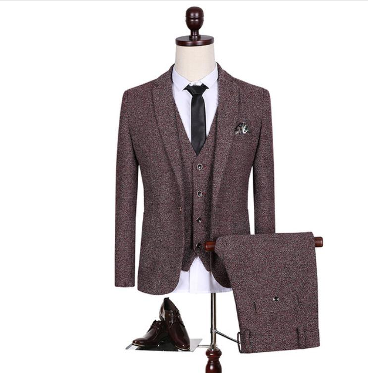 (Jackets+Vest+Pants)2019 New Spring Men's Wool Single Button Casual Suit Men,Blazer Wedding Suits For Men Fashion Business Suits