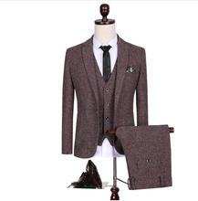 (Jackets+Vest+Pants)2019 New Spring Mens Wool Single Button Casual Suit Men,Blazer Wedding Suits For Men Fashion Business