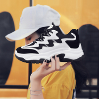 Black Platform Sneakers Women 5.5 CM Heel Thick Sole Light Soft Breathable Dad Shoes Sapato Feminino Flatform Basket Wedge Shoes