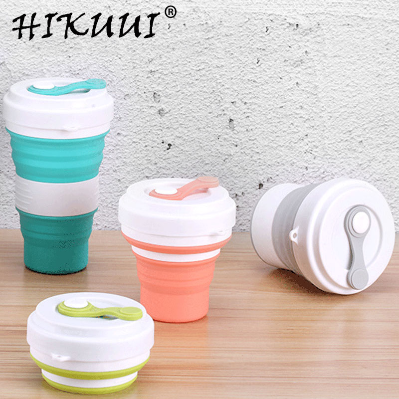 Creative 550ml Folding Silicone Cup Travel Portable Water Cup Silica Coffee Mug Telescopic Drinking Collapsible Mugs Пенал