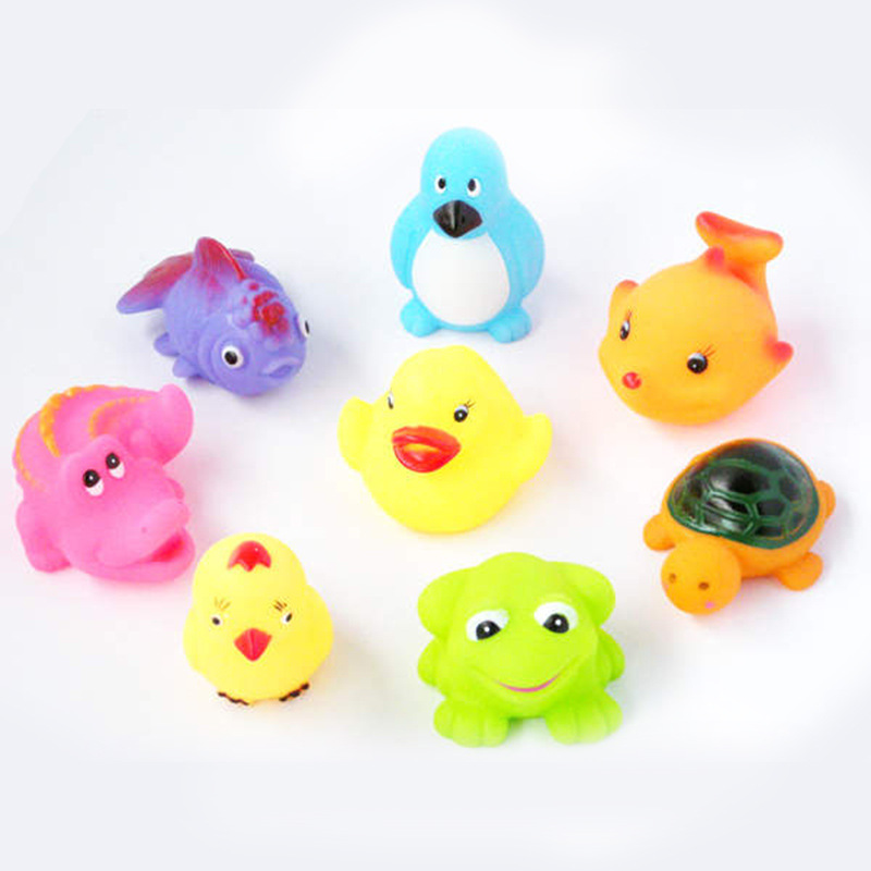 Baby bath toys 1 pieces random animals Soft Rubber cartoon paddle ...