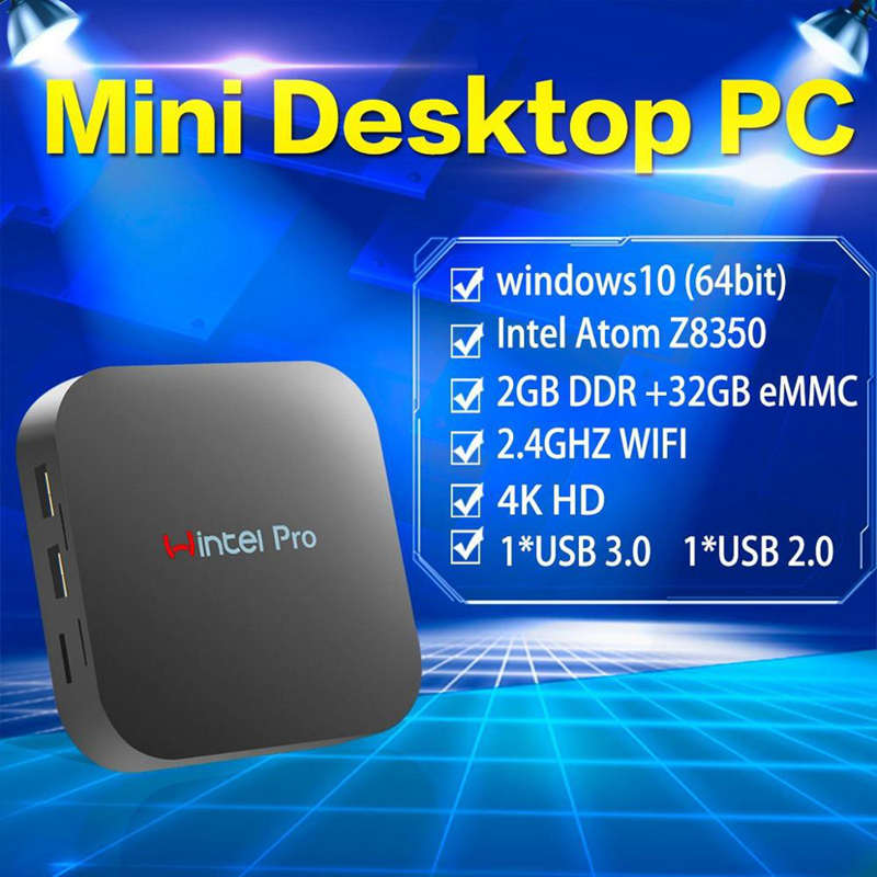 מקרן קיר מיני PC Intel Atom X5-Z8350 1.44Ghz Quad Core עם WIFI BT4.0 RJ45 100M LAN Windows 10 Box טלוויזיה מחשב W8 (5)