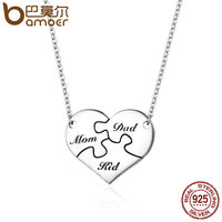 BAMOER Authentic 925 Sterling Silver I Love My Family Puzzle Heart Pendant Necklaces For Women Sterling